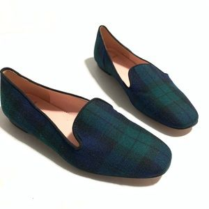 NWOT J.Crew Stunning Green Blue Plaid Loafers 5